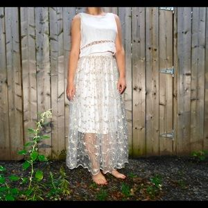 White Lace Floral Maxi Skirt - Small